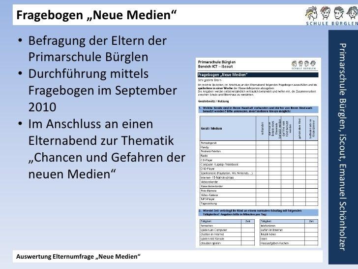 """Fragebogen """"Neue Medien""""<br /><ul><li>Befragung der Eltern der Primarschule Bürglen"""