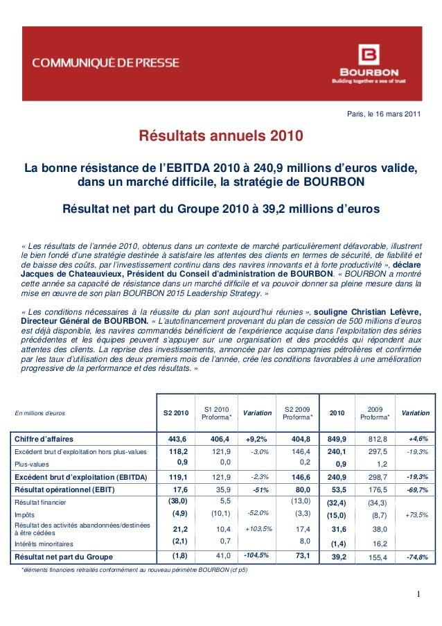 Paris, le 16 mars 2011 1 Résultats annuels 2010 La bonne résistance de l'EBITDA 2010 à 240,9 millions d'euros valide, dans...