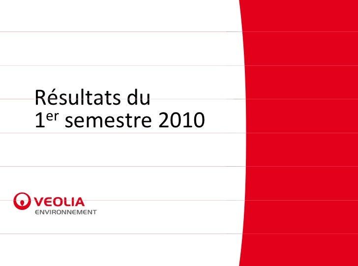 RésultatsduRésultats du1er semestre2010