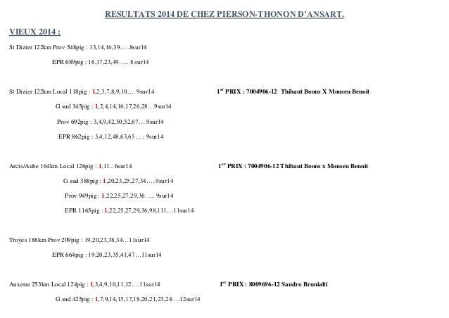 RESULTATS 2014 DE CHEZ PIERSON-THONON D'ANSART.  VIEUX 2014 :  St Dizier 122km Prov 548pig : 13,14,16,39…..8sur14  EPR 689...