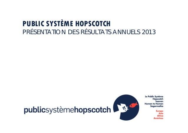 PUBLIC SYSTÈME HOPSCOTCH PRÉSENTATION DES RÉSULTATS ANNUELS 2013