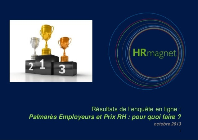 Résultats de l'enquête en ligne : Palmarès Employeurs et Prix RH : pour quoi faire ? octobre 2013 1