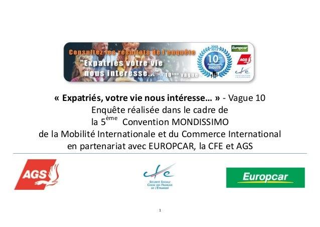 1 « Expatriés, votre vie nous intéresse… » - Vague 10 Enquête réalisée dans le cadre de la 5ème Convention MONDISSIMO de l...