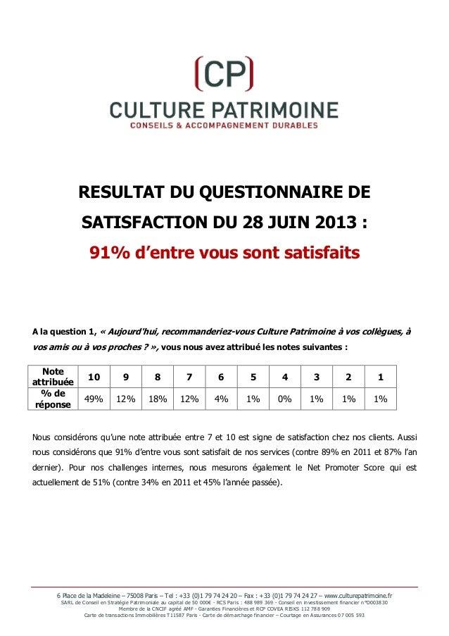 RESULTAT DU QUESTIONNAIRE DE SATISFACTION DU 28 JUIN 2013 : 91% d'entre vous sont satisfaits  A la question 1, « Aujourd'h...