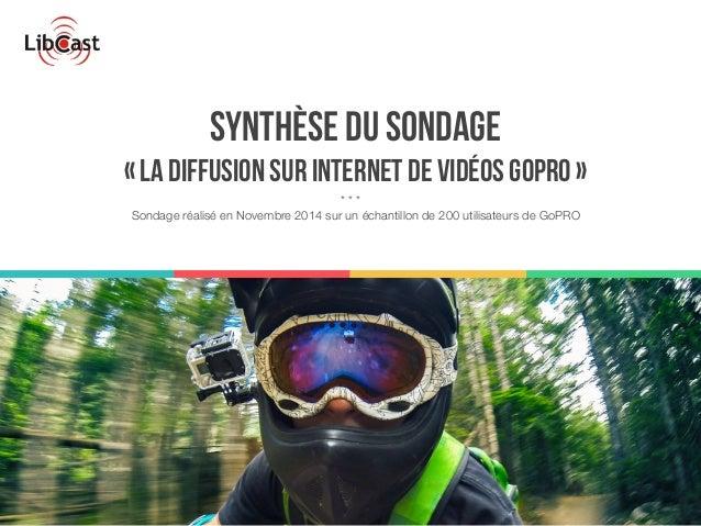 Synthèse du sondage  « la diffusion sur internet de vidéos GoPRO »  * * *  Sondage réalisé en Novembre 2014 sur un échanti...