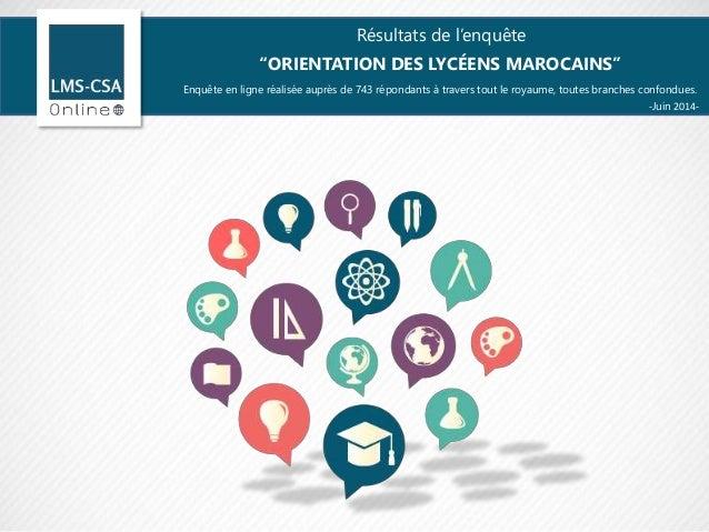 """Résultats de l'enquête """"ORIENTATION DES LYCÉENS MAROCAINS"""" Enquête en ligne réalisée auprès de 743 répondants à travers to..."""