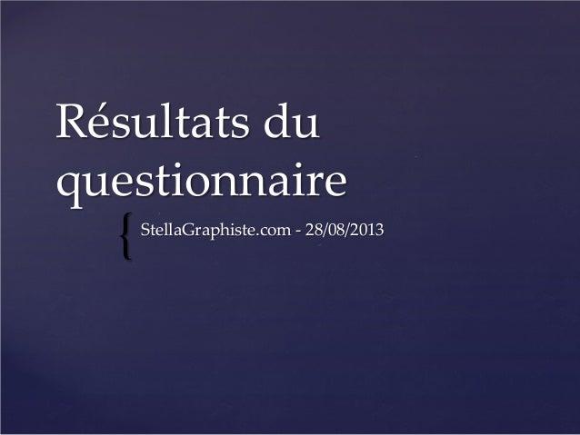 { Résultats du questionnaire StellaGraphiste.com - 28/08/2013