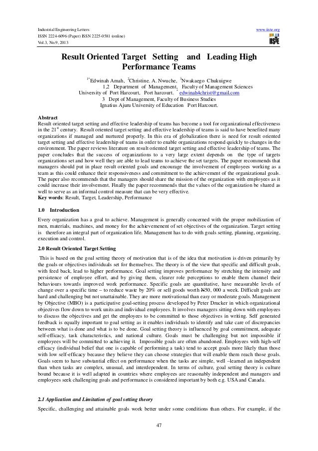 Industrial Engineering Letters ISSN 2224-6096 (Paper) ISSN 2225-0581 (online) Vol.3, No.9, 2013  www.iiste.org  Result Ori...