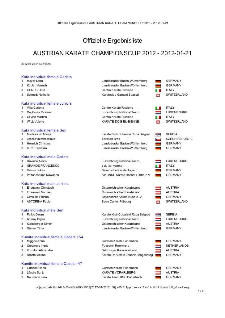 Offizielle Ergebnisliste / AUSTRIAN KARATE CHAMPIONSCUP 2012 - 2012-01-21                                            Offiz...
