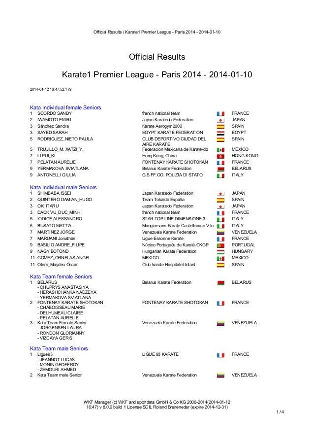 Official Results / Karate1 Premier League - Paris 2014 - 2014-01-10  Official Results Karate1 Premier League - Paris 2014 ...