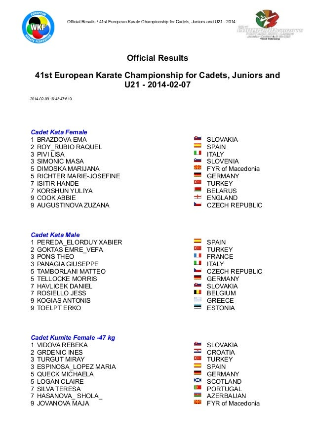 Official Results / 41st European Karate Championship for Cadets, Juniors and U21 - 2014-02-07  Official Results 41st Europ...