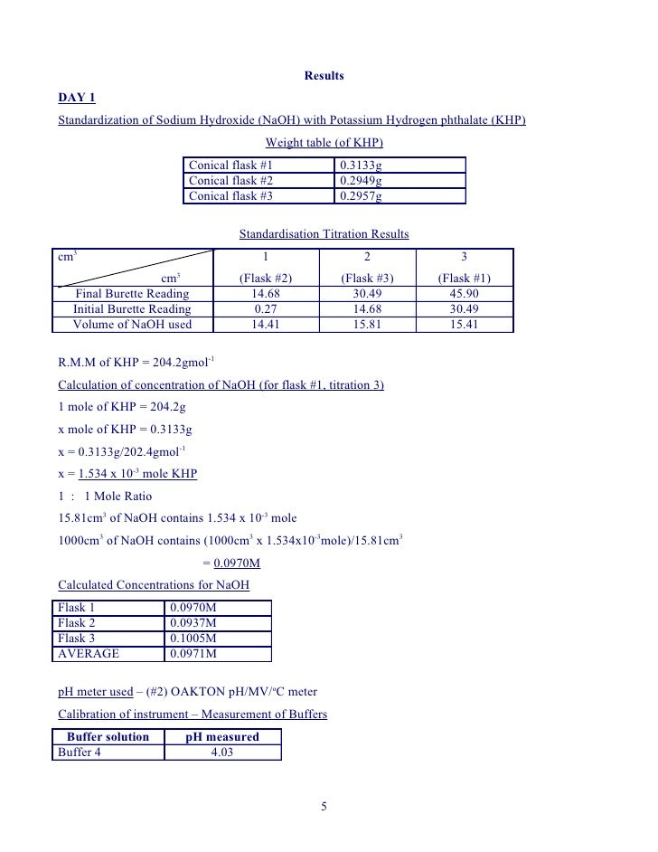 Results DAY 1 Standardization of Sodium Hydroxide (NaOH) with Potassium Hydrogen phthalate (KHP)                          ...
