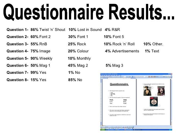 Question 1-  86%  Twist 'n' Shout  10%  Lost in Sound  4%  R&R Question 2-   60%  Font 2  30%  Font 1  10%  Font 5 Questio...