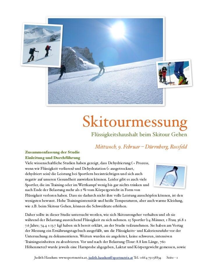 Skitourmessung                                         Flüssigkeitshaushalt beim Skitour Gehen                            ...
