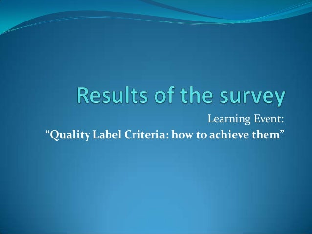 """Learning Event: """"Quality Label Criteria: how to achieve them"""""""