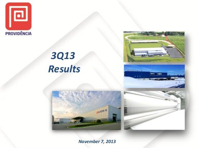 3Q13 Results  November 7, 2013