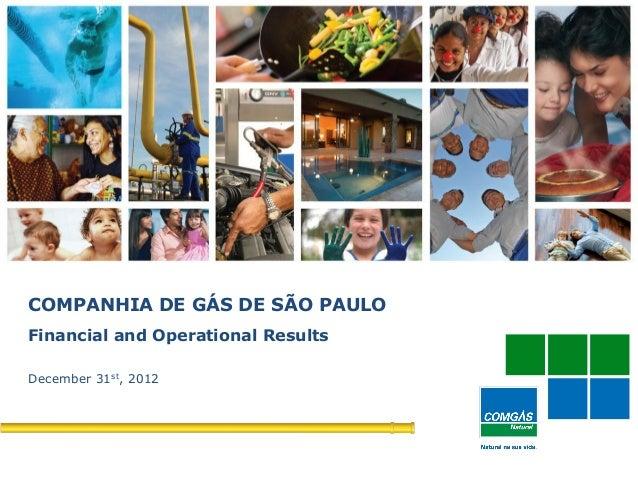 1COMPANHIA DE GÁS DE SÃO PAULOFinancial and Operational ResultsDecember 31st, 2012