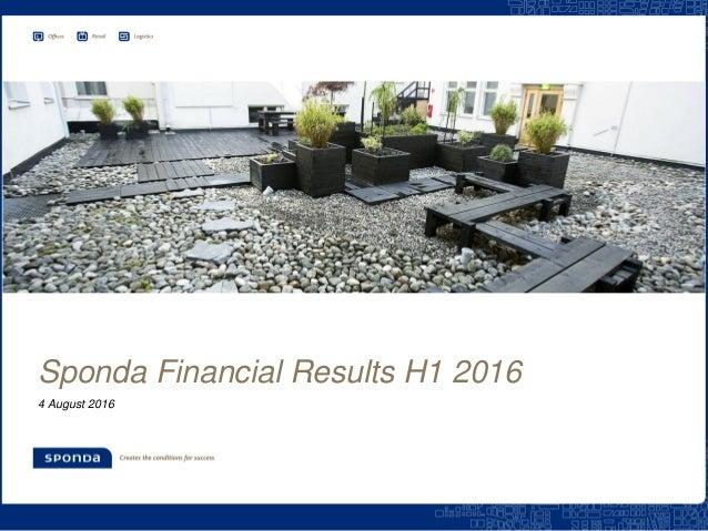 Sponda Financial Results H1 2016 4 August 2016
