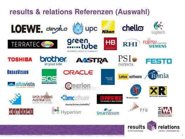 results & relations Referenzen (Auswahl)  7