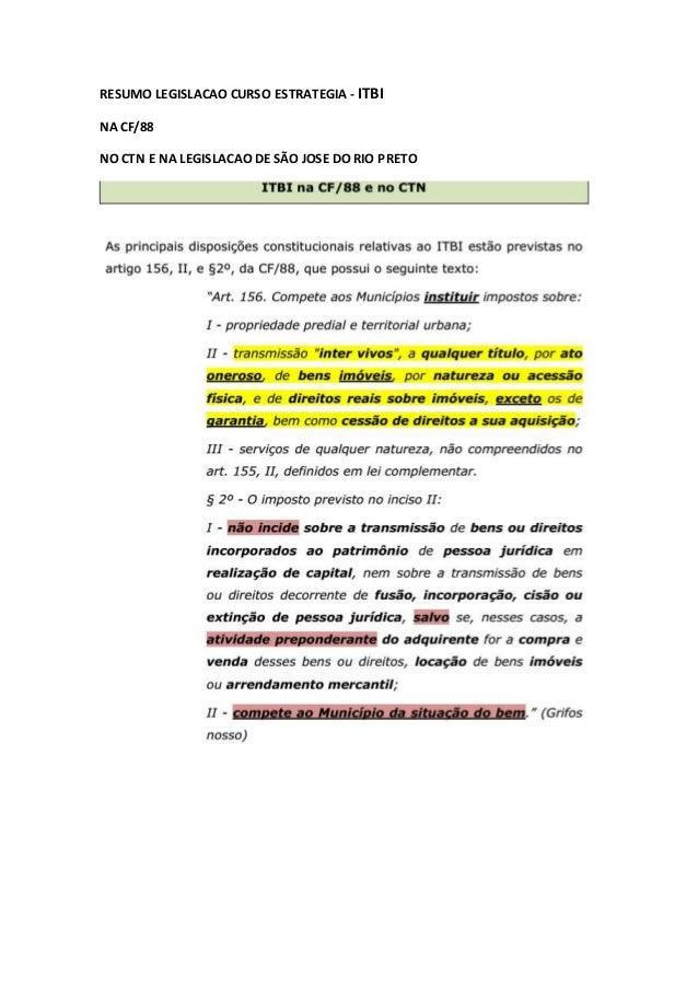 RESUMO LEGISLACAO CURSO ESTRATEGIA - ITBI NA CF/88 NO CTN E NA LEGISLACAO DE SÃO JOSE DO RIO PRETO
