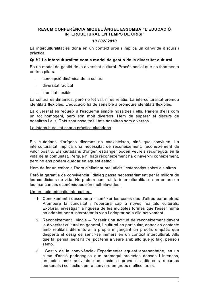 """RESUM CONFERÈNCIA MIQUEL ÀNGEL ESSOMBA """"L'EDUCACIÓ                 INTERCULTURAL EN TEMPS DE CRISI""""                       ..."""