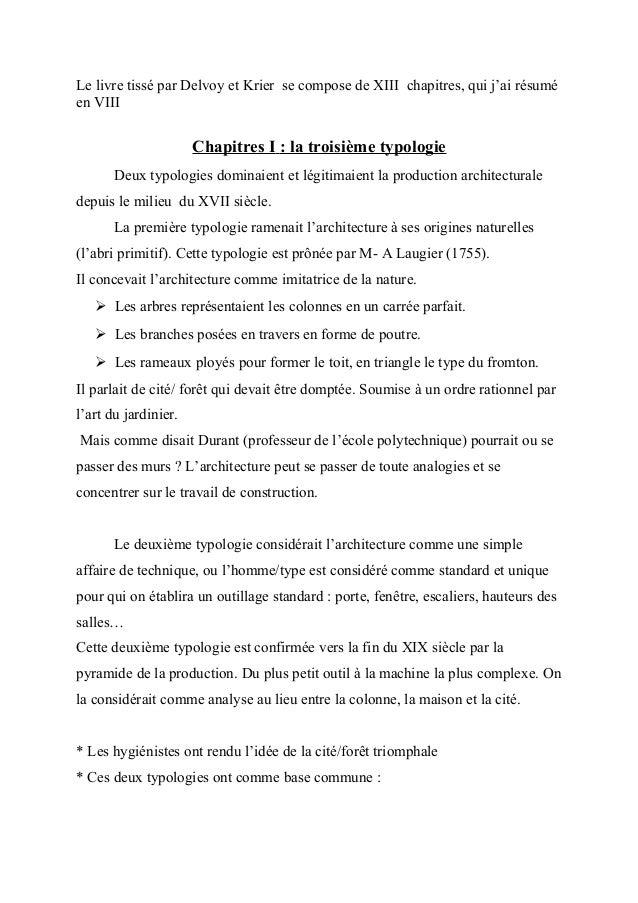 Le livre tissé par Delvoy et Krier se compose de XIII chapitres, qui j'ai résuméen VIIIChapitres I : la troisième typologi...