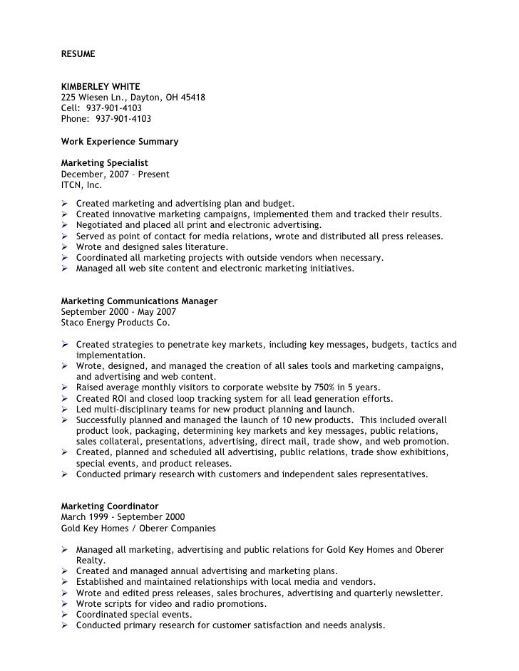 Kimberley White Resume  Professional Marketing Communications Profes