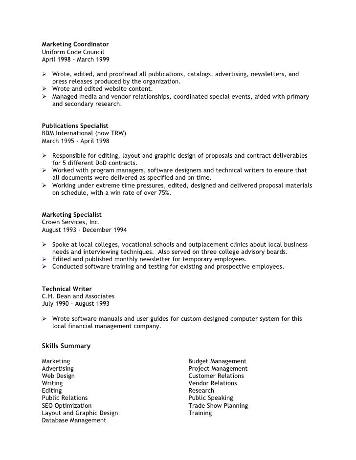 marketing coordinator - Professional Marketing Resume