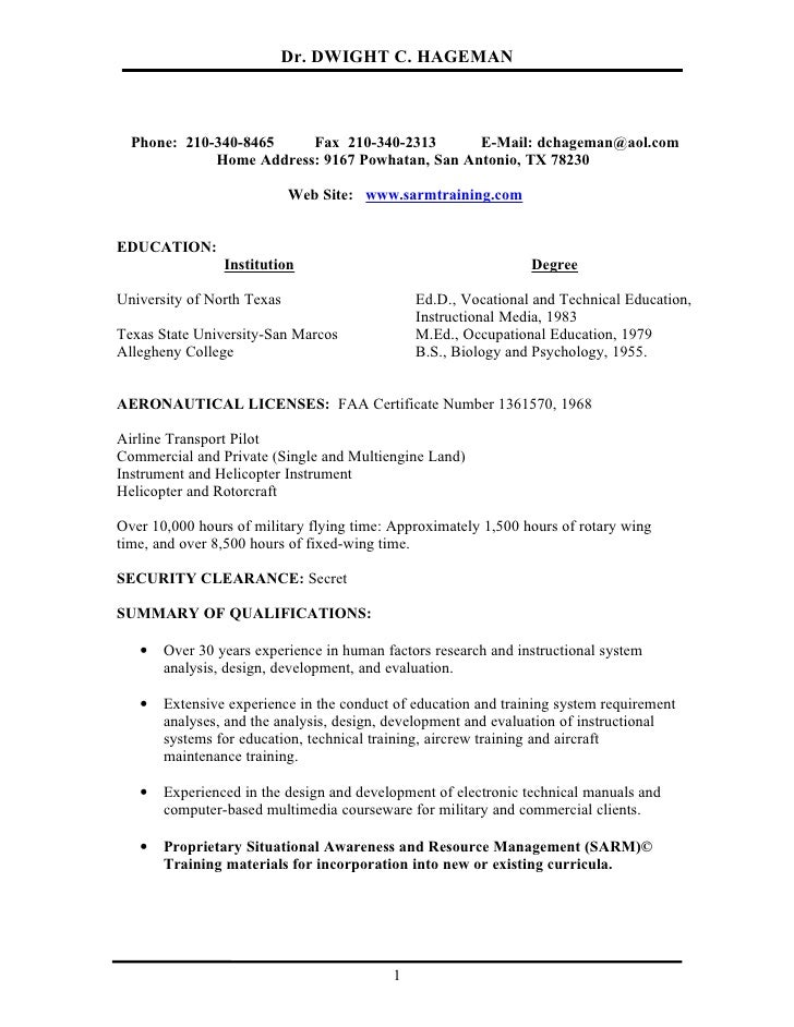 Airline Pilot Resume Services - Preparing A Professional ...