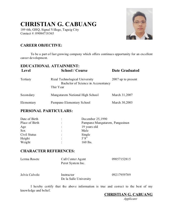Merveilleux Resume. CHRISTIAN G. CABUANG 189 6th, GHQ, Signal Village, Taguig City  Contact ...