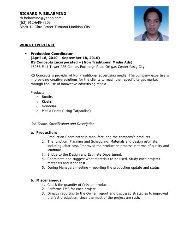 resume richard p belarminorbbelarminoyahoocom63 912 649 - Production  Operator Resume
