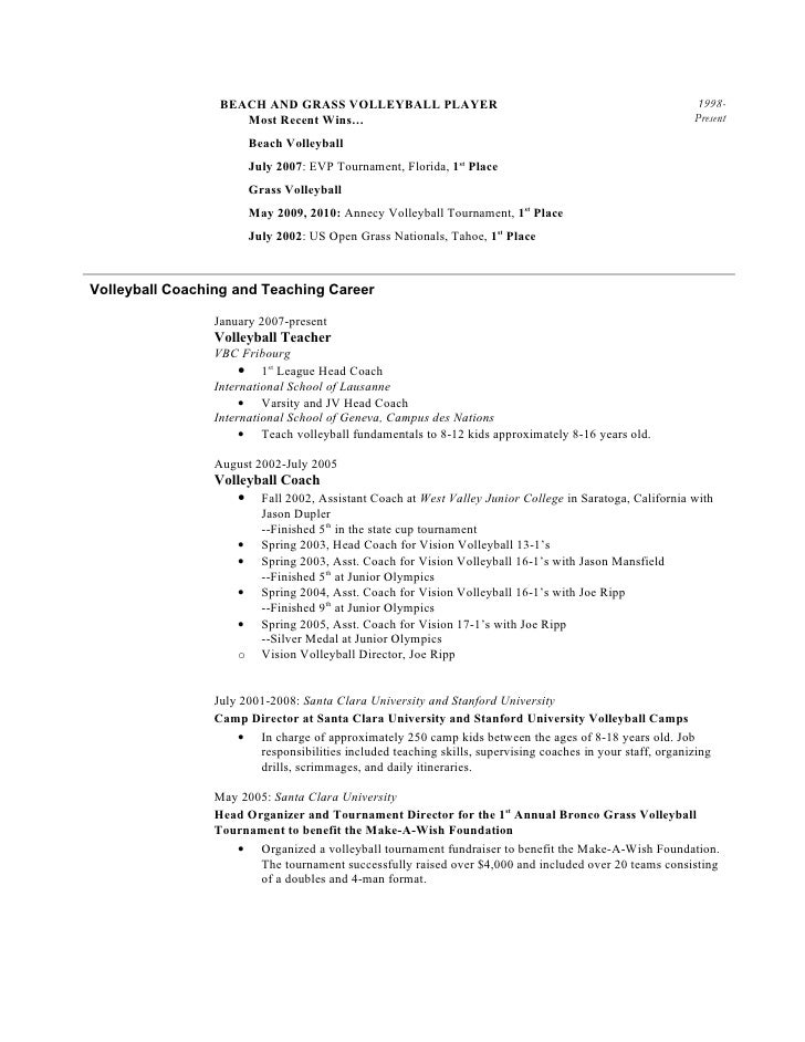 Good Beautiful Head Volleyball Coaching Resume Image Collection   Best .