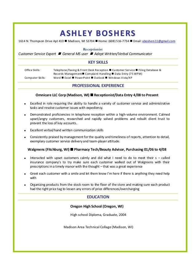 Resume. ASHLEY BOSHERS1614 N. Thompson Drive Apt 410  Madison, WI 53704   Home: ...