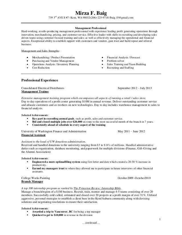 wa resume branch manager staffing sales