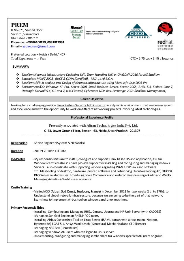 resume for linux administrator aix administration cover