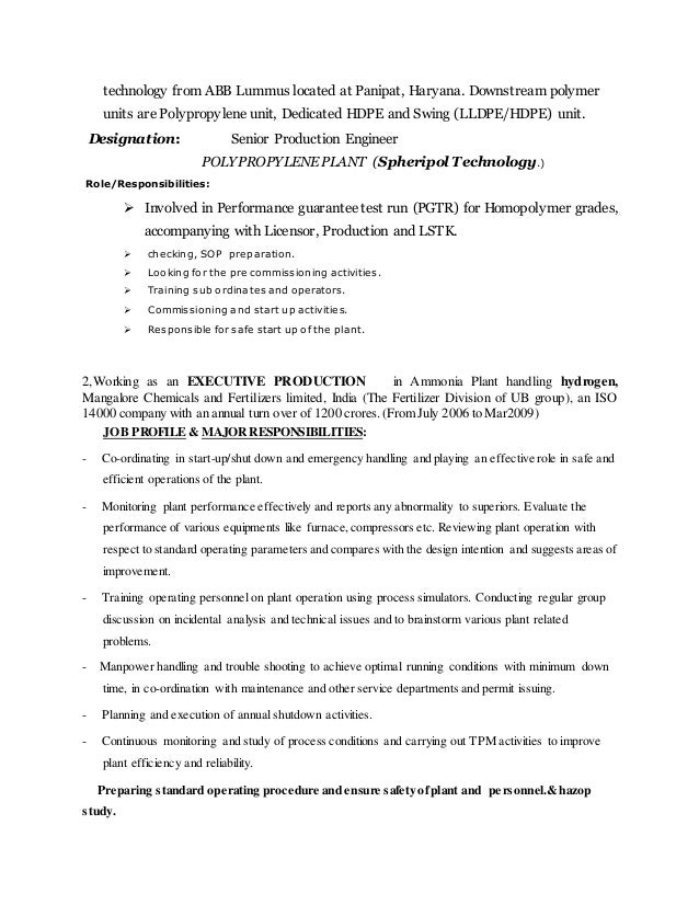 production engineer resumes