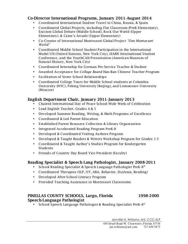 Resume Teachers Examples