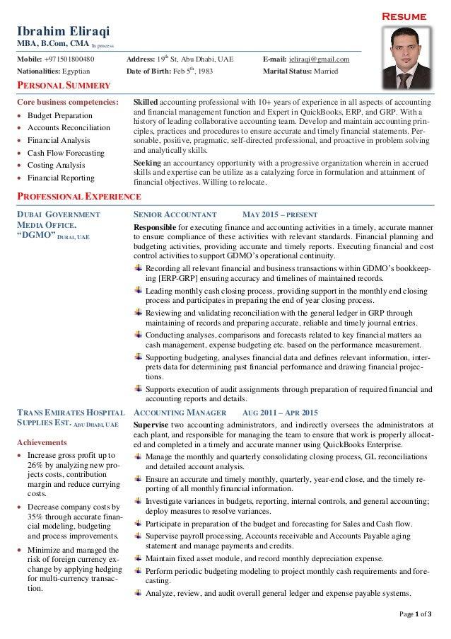 Resume Page 1 of 3 Ibrahim Eliraqi MBA, B.Com, CMA In process Mobile: +971501800480 Address: 19th St, Abu Dhabi, UAE E-mai...