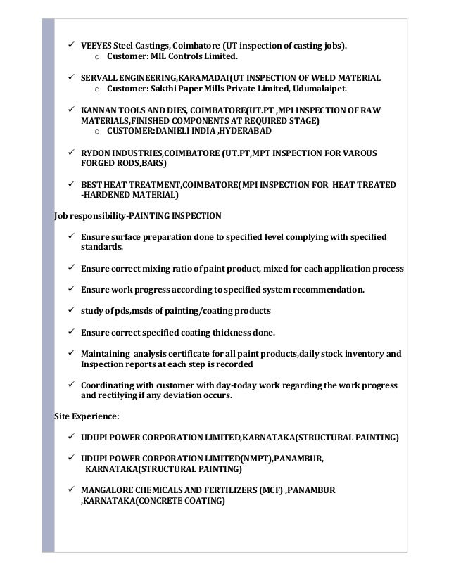 Resume qa qc painting inspector for Painting coating inspector jobs