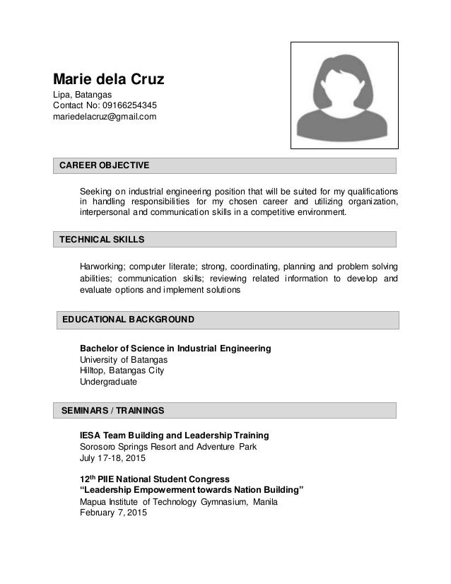 marie dela cruz lipa batangas contact no 09166254345 mariedelacruzgmailcom seeking batangas society of industrial engineering - Industrial Engineer Resume New Section