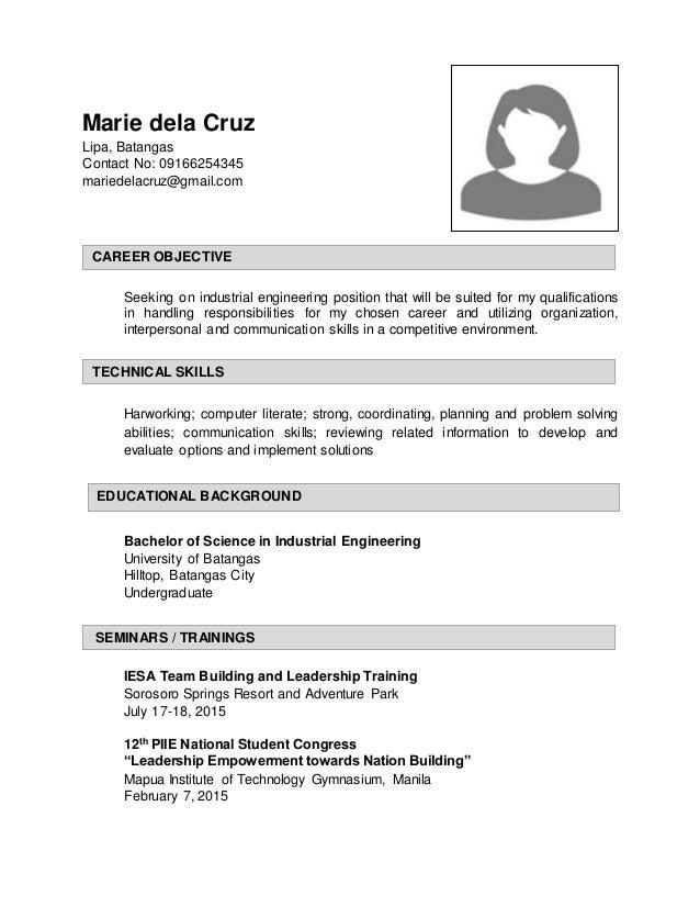 Captivating Marie Dela Cruz Lipa, Batangas Contact No: 09166254345  Mariedelacruz@gmail.com Seeking Batangas Society Of Industrial Engineering  ...