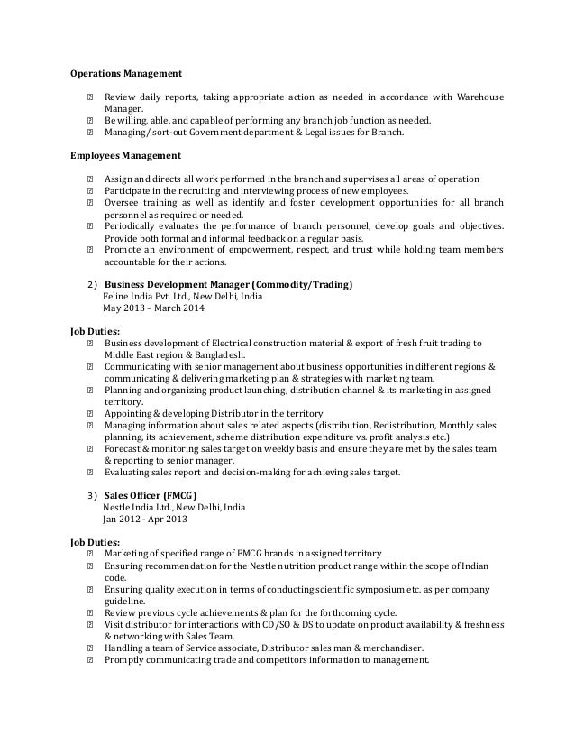 Resume Fmcg Sales Manager