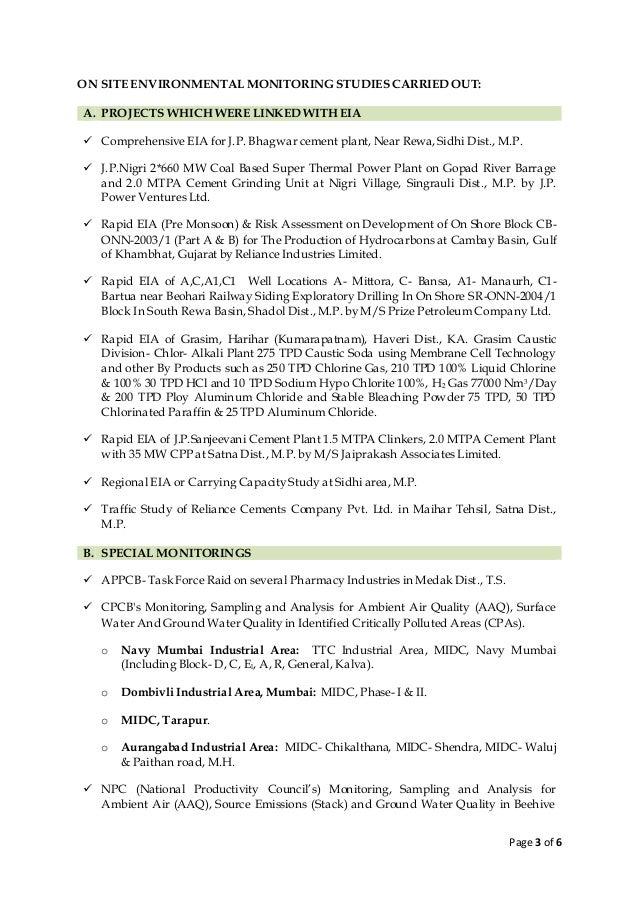 resume environmental scientist