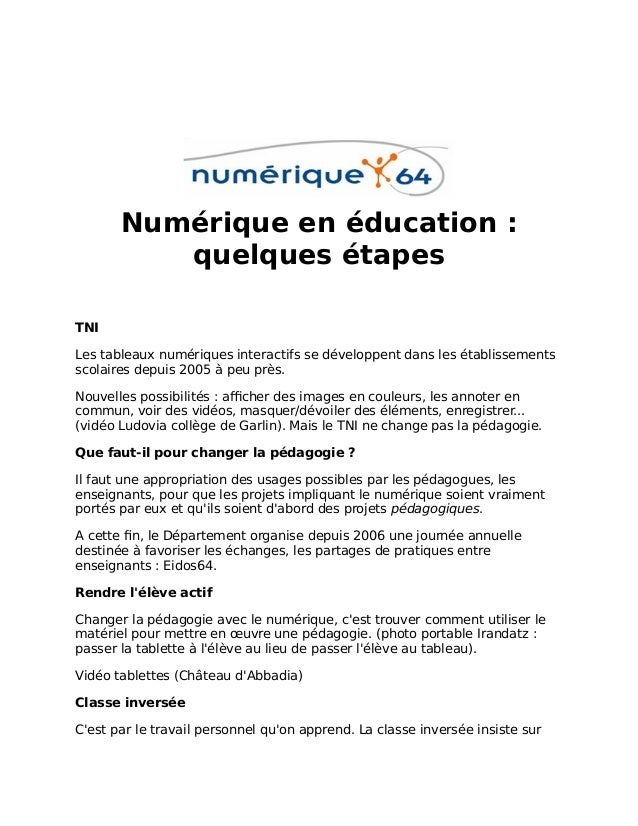 Numérique en éducation : quelques étapes TNI Les tableaux numériques interactifs se développent dans les établissements sc...