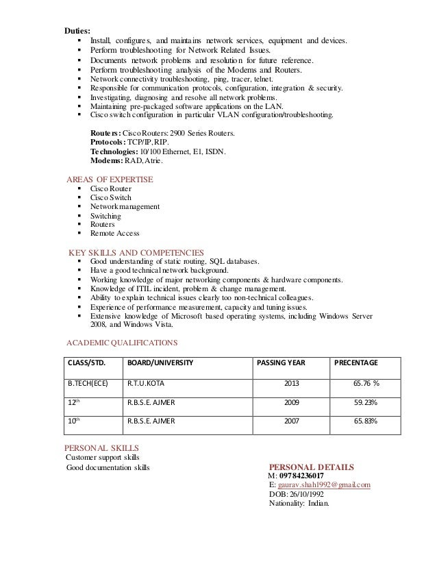 Network administrator resume  IT  example  sample  Cisco  routers
