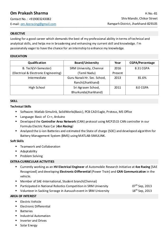 Resume Format For Fresher. Om Prakash Sharma Contact No. : +919003243082  E Mail: Om.4zeracing ...