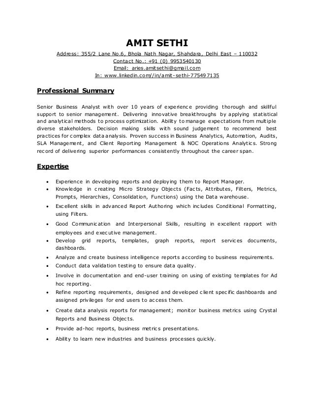 sr business analyst resumes