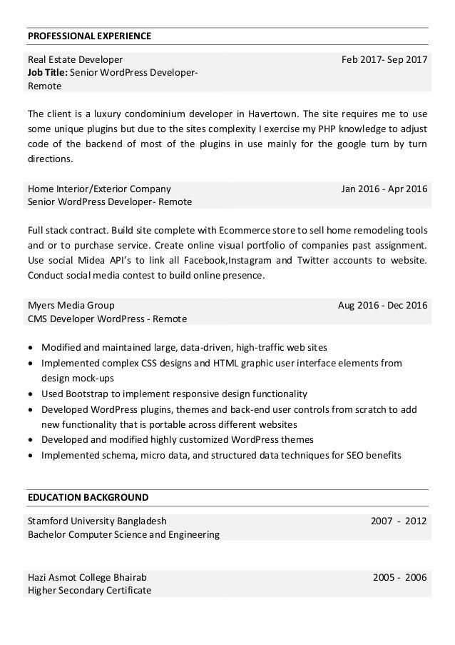 Professional Wordpress Theme Developer Web Developer Resume