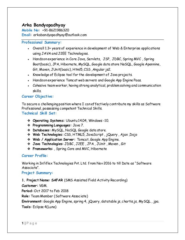 Java developer with More than 1 3 year of experience in Web