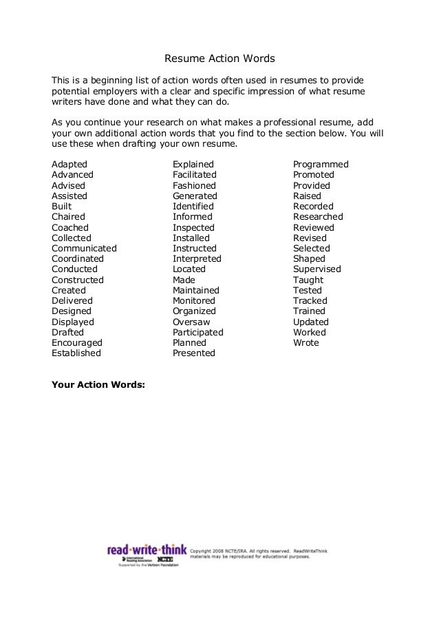 Resume Action Words Worksheet
